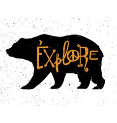 vintage bear with slogan vector image vector image