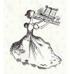vintage pianist vector image vector image
