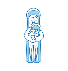 virgin mary holding baby jesus christian and vector image
