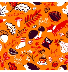 Autumn season nature plants seamless pattern vector