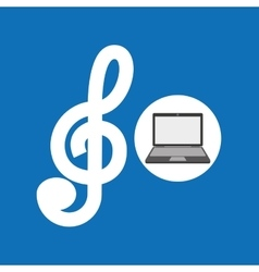 Laptop music technology clef note vector