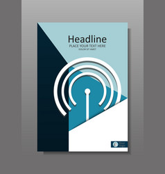 Business cover design a4 with wi fi and it theme vector