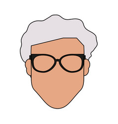 Colorful silhouette front view faceless old man vector
