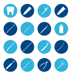 Set of white dental icons on color background vector