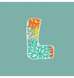 Hand drawn floral letter L isolated on blue vector image