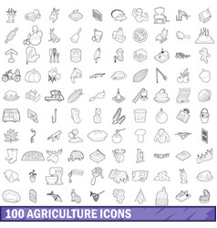 100 agriculture icons set outline style vector