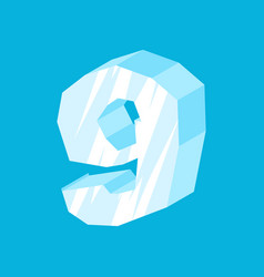 Number 9 ice icicles font nine frozen alphabet vector