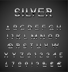Silver alphabet set vector
