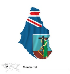 Map of montserrat with flag vector