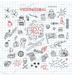 Hand drawn terrorism doodles on crumpled paper vector
