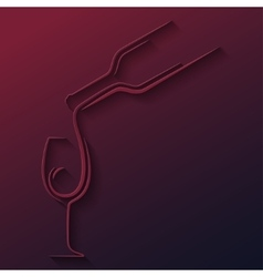 Wine glass bottle paper cut background vector