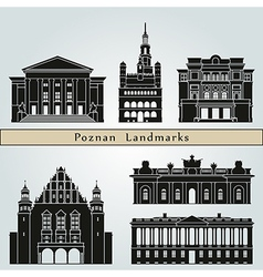Poznan landmarks and monuments vector