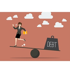 Balancing between business woman and debt vector