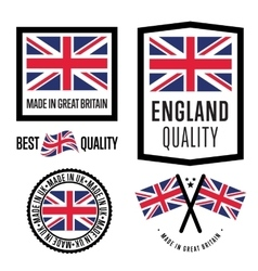 Made in great britain label set national flag vector
