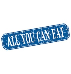 All you can eat blue square vintage grunge vector