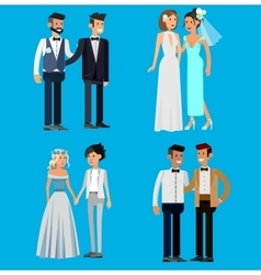 Nontraditional family happy cute wedding gay and vector