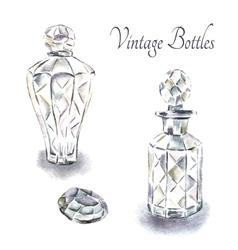 Vintage perfume bottles vector