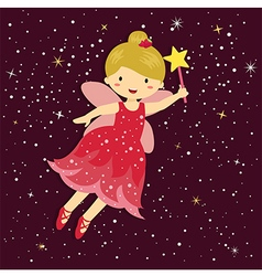 Cute little red fairy vector