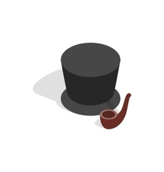 Hat and smoking pipe icon isometric 3d style vector