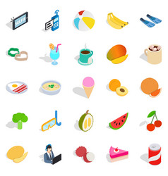 Beach breakfast icons set isometric style vector