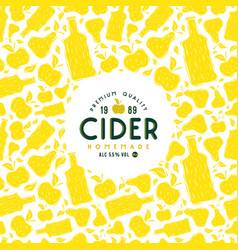 Cider label and frame with pattern vector