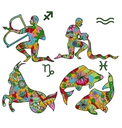 Colorful horoscope 3 vector image vector image
