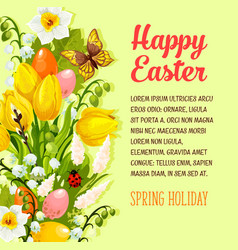 Easter flowers bunch spring holiday poster vector