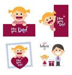 fathers day cards with a happy blond girl vector image vector image