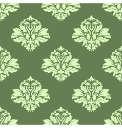 Floral seamless pattern with light green on dark vector