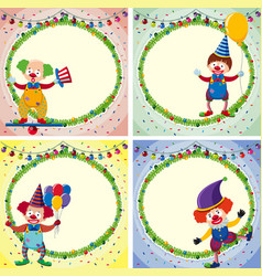 four border templates with happy clowns and lights vector image vector image
