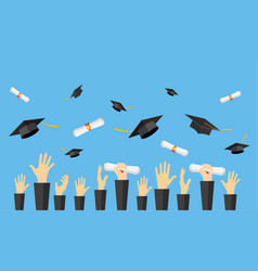 Graduating students of pupil hands vector