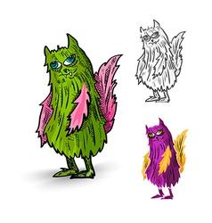 Halloween monsters spooky isolated creatures set vector