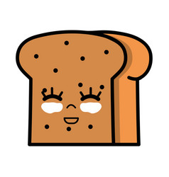 Kawaii cute happy slice bread food vector