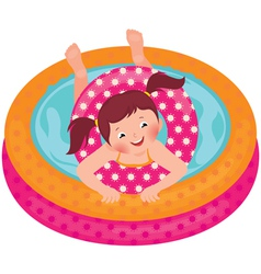 Little girl splashing in the summer inflatable poo vector image vector image