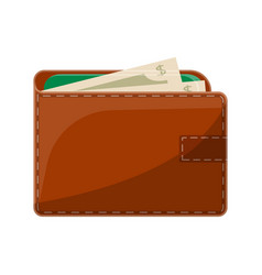 male brown leather wallet isolated icon vector image