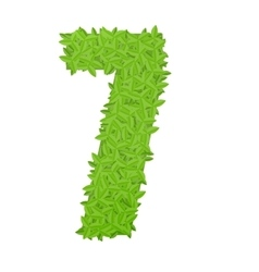 Number 7 consisting of green leaves vector image