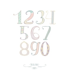 Pastel colored hand drawn numbers digits vector