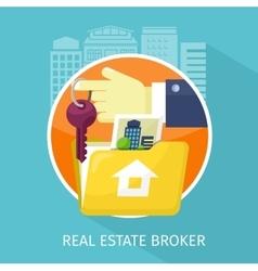 Real Estate Broker Design Flat vector image vector image