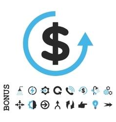 Refund flat icon with bonus vector