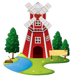 scene with red windmill on the farm vector image vector image