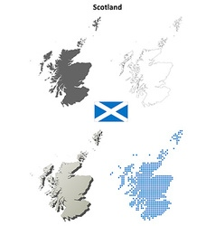 Scotland outline map set vector