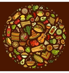 Set of mexican food cartoon doodle objects vector