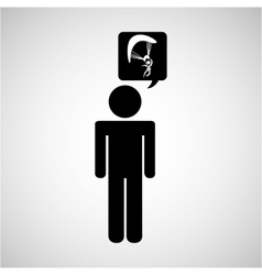 silhouette thinking icon vector image vector image