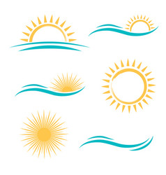 sun and sea logo set vector image