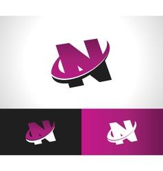 Swoosh alphabet icon n vector