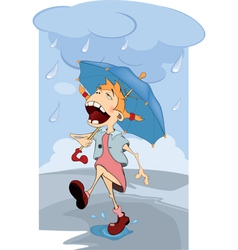The girl in the rain Cartoon vector image vector image