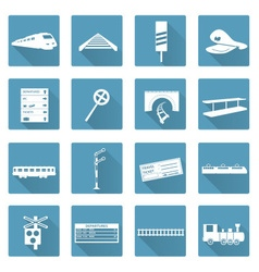 Train and railway flat white icons set eps10 vector