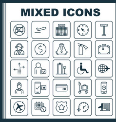 Traveling icons set collection of timetable vector