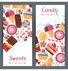 Vertical banners with colorful candy sweets and vector image vector image