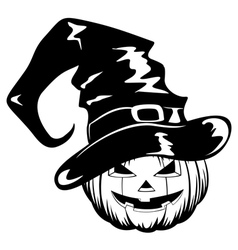 Pumpkin in halloween hat vector